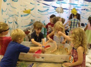 "Children doing ""under sea"" activities during Vacation Bible School"