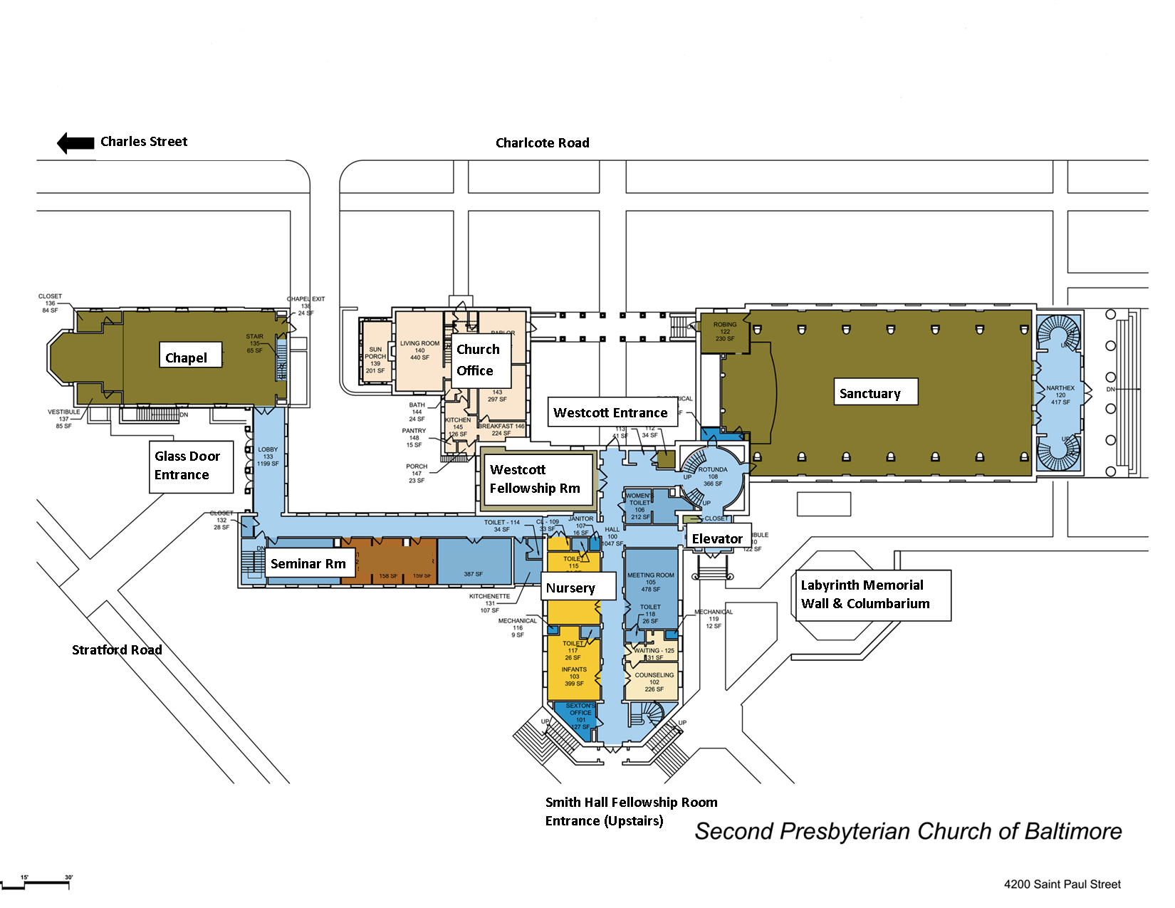 Worship services second presbyterian church for Floor plan services
