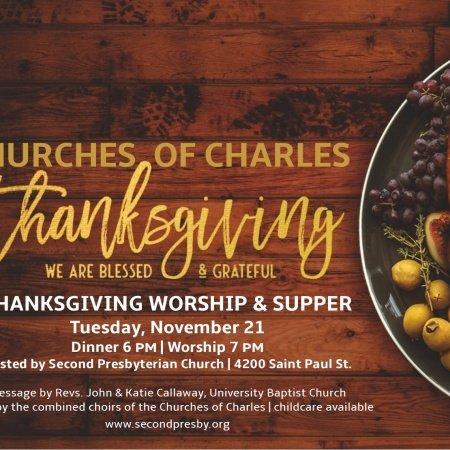 Churches of Charles Thanksgiving on Nov. 21