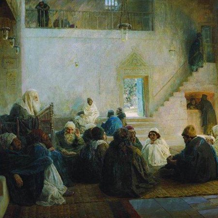 Painting: Vasiliy Polenov. Among the Teachers. 1896