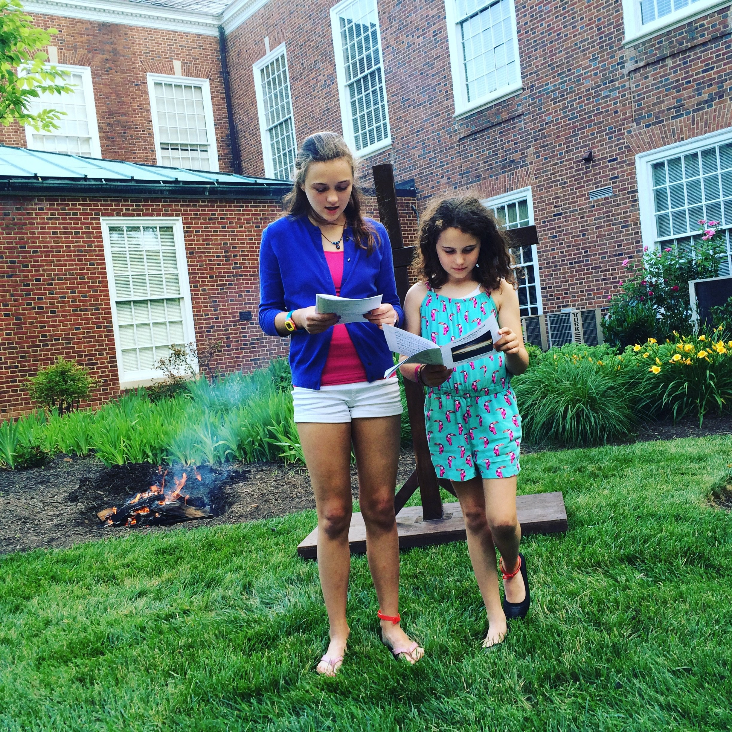 Young liturgists during summer evening outddor vespers service