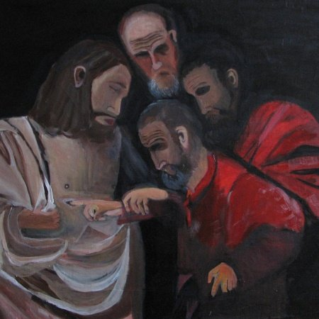 Painting of Doubting Thomas & Jesus