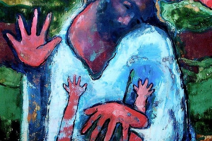 Contemporary painting of Jesus healing a leper