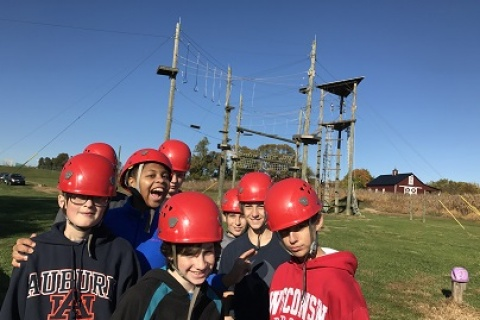 Youth group ropes course trip